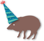 Cartoon Javelina in a birthday hat