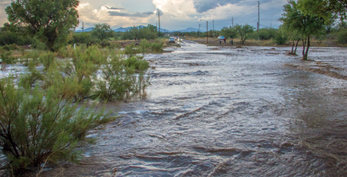 Flooded wash in Rio Rico, Arizona
