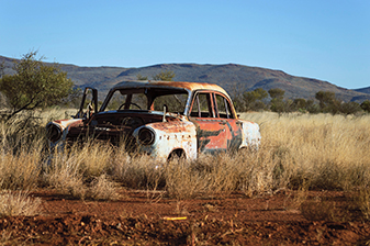 Old rusty car in the desert