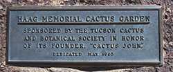 A plaque dedicated to founder Cactus John Haag. Credit M Paganelli